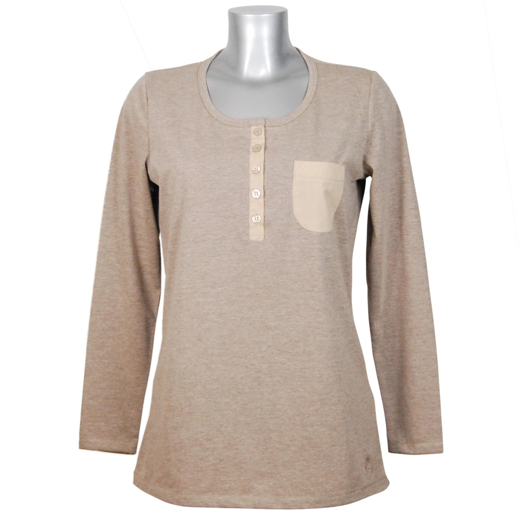 vollständige Palette von Spezifikationen anerkannte Marken neueste auswahl MelanieM Damen Longsleeve Shirt langarm lange Knopfleiste Brusttasche  Baumwolle single Jersey gebürstet