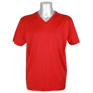 JOCKEY Herren T-Shirt kurzarm V-Ausschnitt reine merzerisierte Baumwolle Brusttasche International Collection rot – Bild 1
