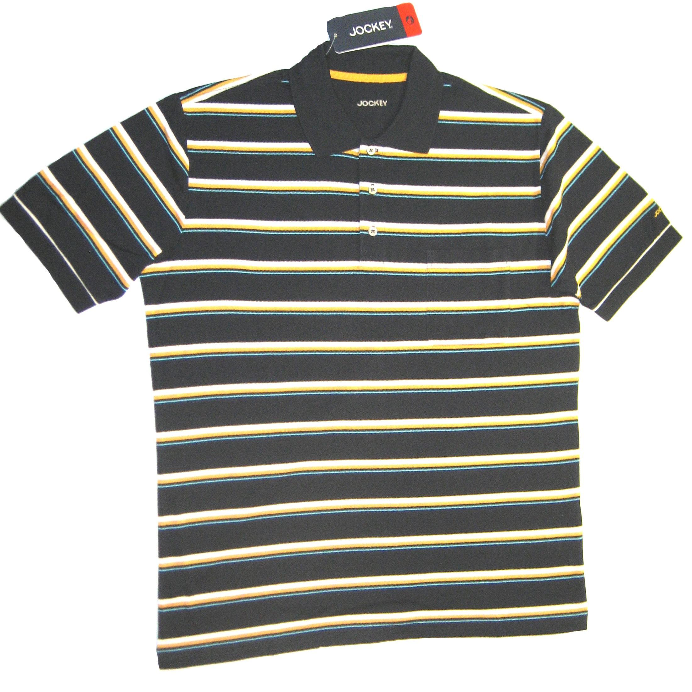 JOCKEY Herren Poloshirt kurzarm mit Brusttasche reine Baumwolle pique  gestreift 0da190bfb0