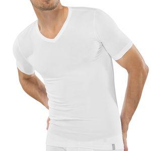 SCHIESSER Herren Shirt V-Ausschnitt kurzarm 95 / 5 weiß – Bild 1