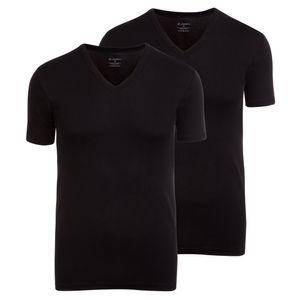 2er Pack JOCKEY V-Neck Shirt Modern Classic Feinripp Baumwolle ohne Seitennähte schwarz – Bild 1