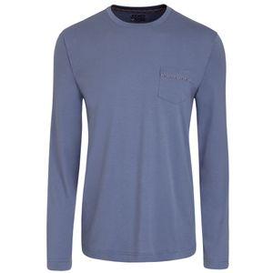 JOCKEY Herren Schlafanzug lang Jersey Webhose Brusttasche hellblau U.S.A.Originals – Bild 2