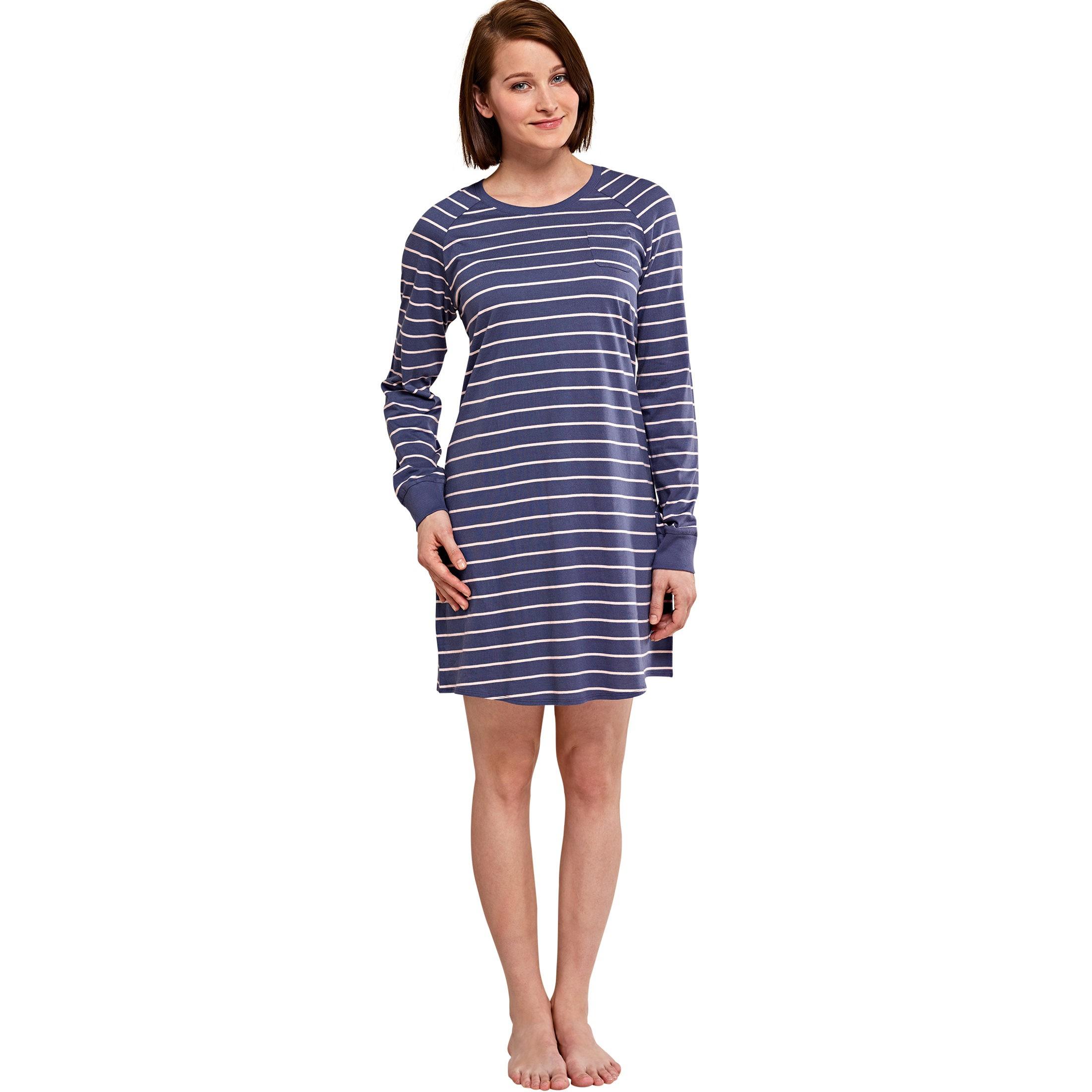 SCHIESSER Damen Sleepshirt 90cm langarm Bündchen Ringel dunkelblau Damen bfcaacc07b