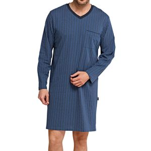 SCHIESSER Herren Nachthemd V-Ausschnitt Single Jersey jeansblau gestreift – Bild 2