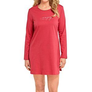 SCHIESSER Damen Sleepshirt langarm Single-Jersey Baumwolle 85 cm rot – Bild 2