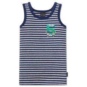 SCHIESSER Jungen Unterhemd Jersey naturmelange-blau geringelt Otto lernt Rechnen – Bild 1