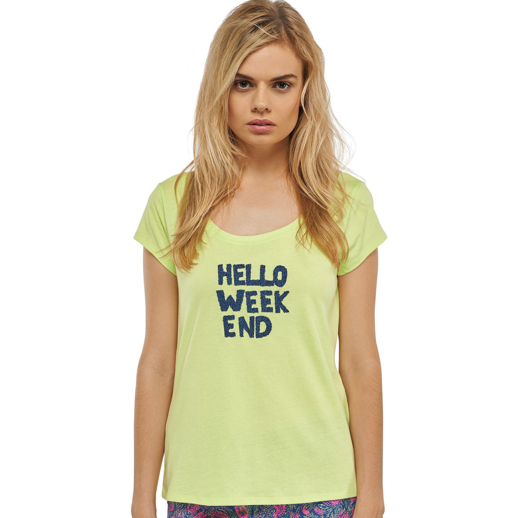 b8d5fff99d56c2 Uncover by SCHIESSER Damen T-Shirt Jersey weiter Rundhals limegrün Weekend