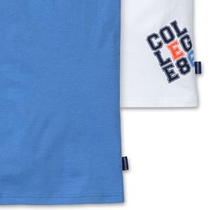 SCHIESSER 2er-Pack Jungen Tank-Tops Unterhemden Jersey hellblau weiß College-Motiv – Bild 3
