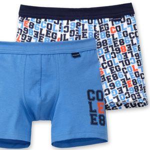 SCHIESSER Jungen 2 er Pack Shorts Jersey hellblau bedruckt College-Motiv – Bild 2