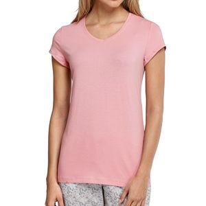 SCHIESSER Damen Shirt 1/4-Arm kurzarm V-Ausschnitt Jersey sorbet – Bild 1