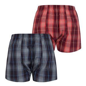 JOCKEY 2 er Pack Herren  Boxer Shorts gewebte reine Baumwolle blau rot kariert – Bild 4
