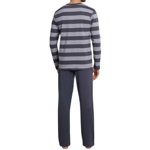 SCHIESSER Herren Schlafanzug lang Knopfleiste grau-weiß geringelt Ebony – Bild 4