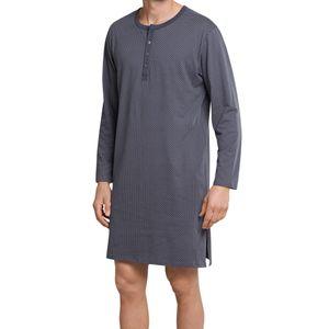 SCHIESSER Herren Nachthemd langarm Serafino-Kragen anthrazit-weiß bedruckt Ebony – Bild 2