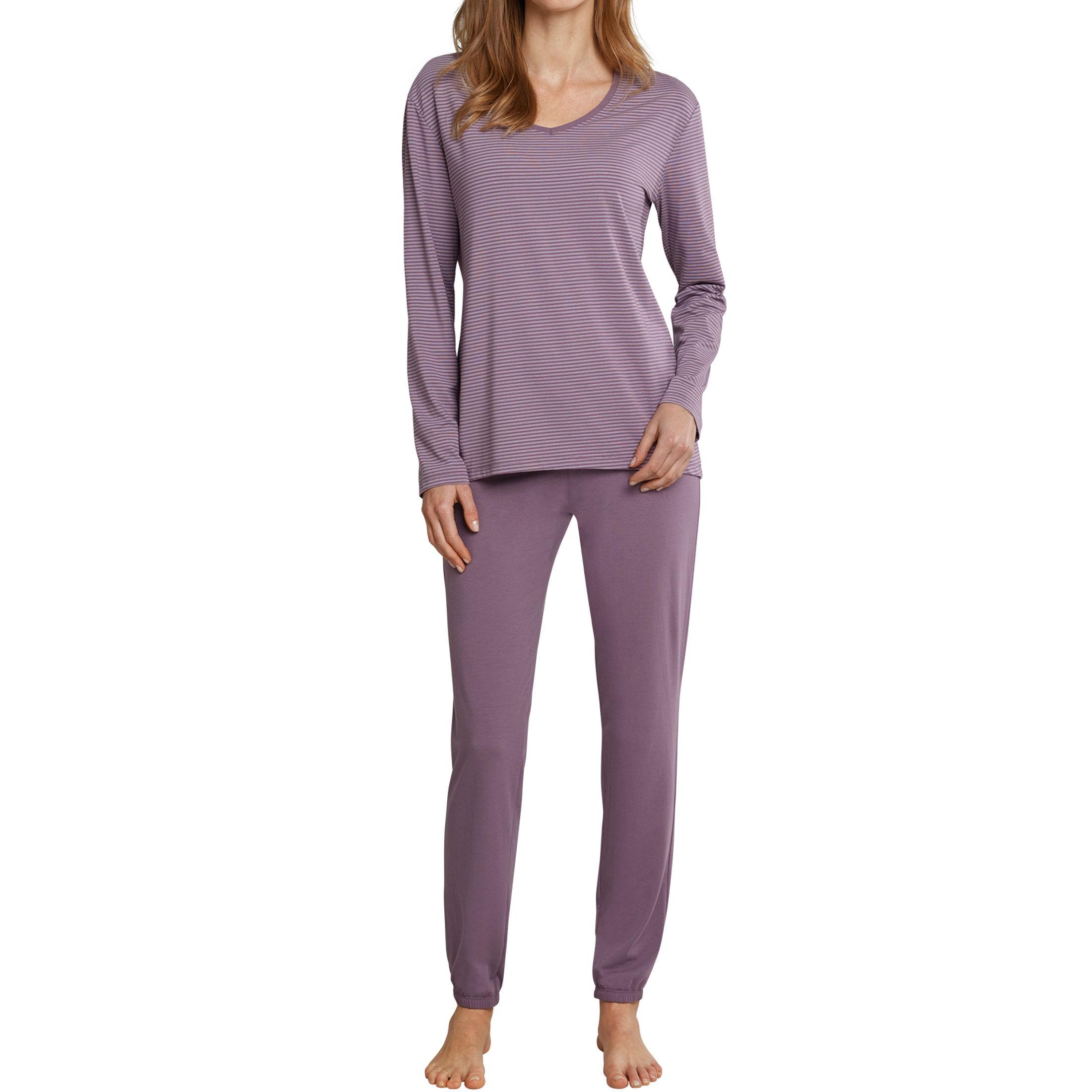 SCHIESSER Damen Schlafanzug lang Jersey lila geringelt Long Life Softness d9deca8aa4