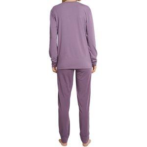SCHIESSER Damen Schlafanzug lang Jersey Knopfleiste Bündchen pflaume-lila geringelt  Long Life Softness – Bild 4