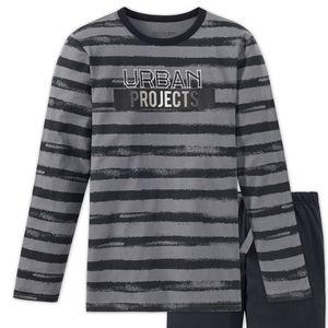SCHIESSER Jungen Schlafanzug lang Jersey Ringel Used-Look grau Urban Project Metropolitan – Bild 2