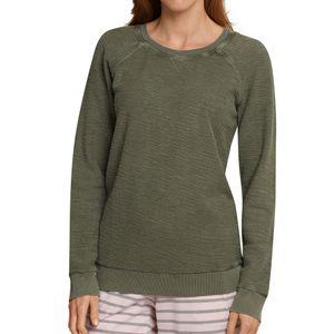 SCHIESSER Damen Shirt langarm Sweatware Used-Look Raglan-Schnitt oliv  – Bild 2