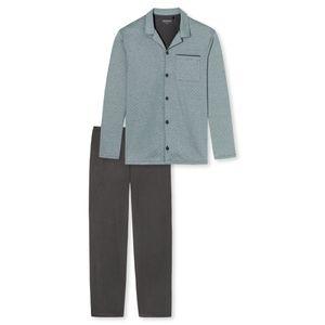 SCHIESSER Herren Schlafanzug lang Jersey durchgehende Knopfleiste grün geringelt Helsinki – Bild 5