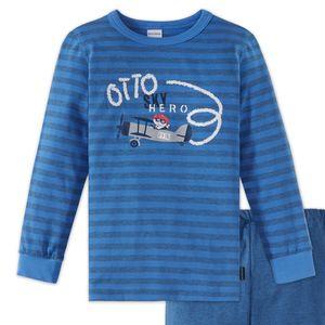 SCHIESSER Jungen Schlafanzug lang Jersey Bündchen Ringel Flugzeuge blau melange Otto Senkrechtstarter – Bild 2