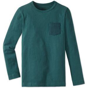 SCHIESSER Jungen Shirt langarm Heavy Jersey peached Brusttasche blaugrün Mix & Relax – Bild 1