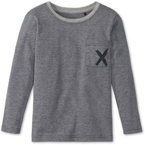 SCHIESSER unisex Shirt langarm Jersey Brusttasche Ringel grau meliert X-Motiv Mix & Relax – Bild 1