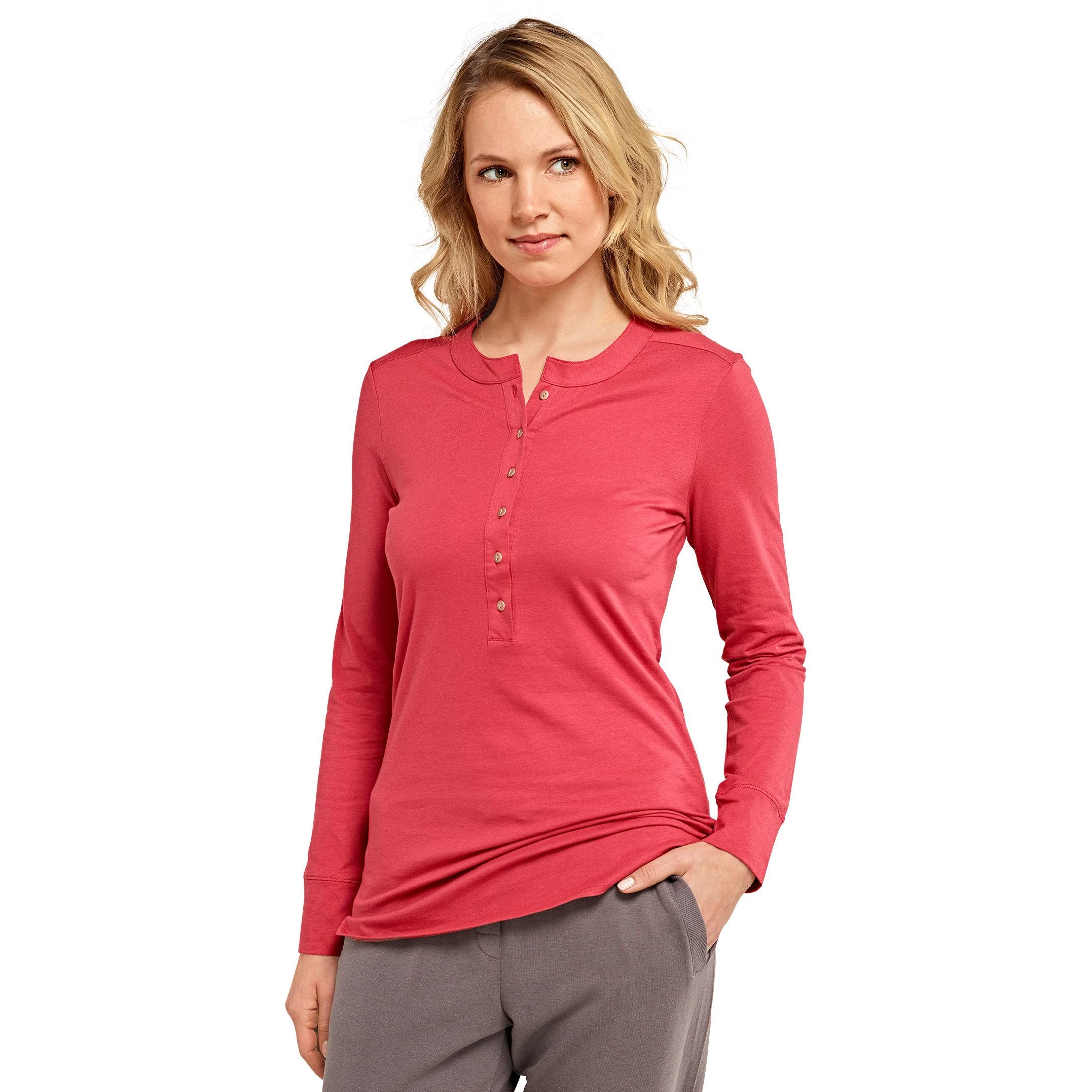SCHIESSER Damen Langarmshirt Single-Jersey Baumwolle mit Knopfleiste rot  Mix   Relax 43995821bd