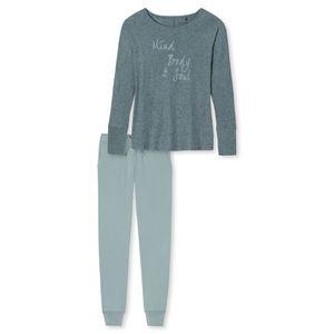 SCHIESSER Damen Schlafanzug lang Bündchen blaugrün meliert Midnight Florals – Bild 3