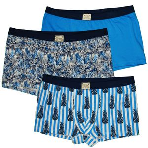 JOCKEY 3 er Pack Herren Boxer Shorts Single Jersey U.S.A Originals Deep Ocean