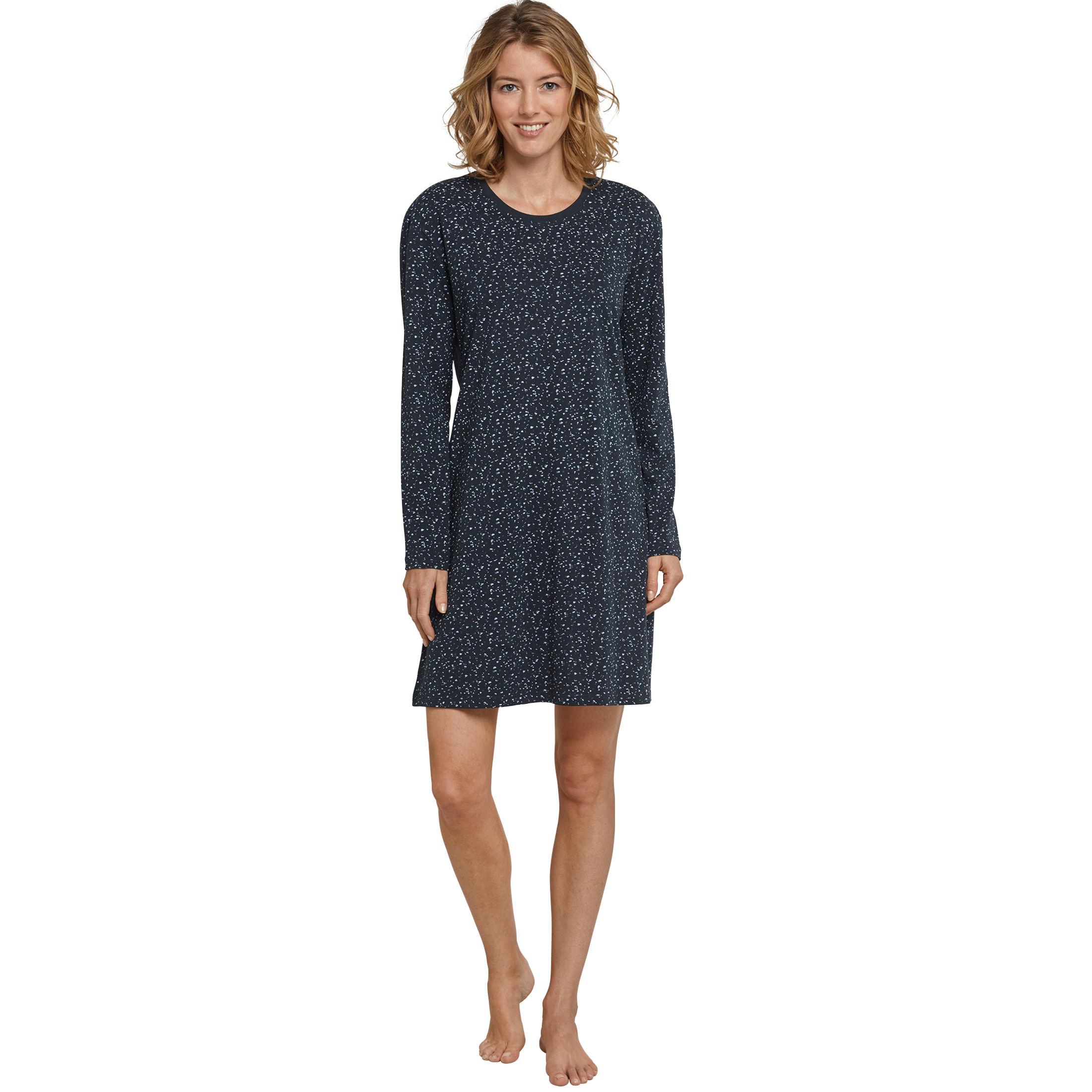 SCHIESSER Damen Nachthemd langarm 90 cm Jersey Dots graphit Go Indigo 8a127a8ff3