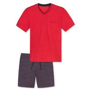SCHIESSER Herren Schlafanzug kurz V-Ausschnitt Brusttasche Jersey rot Tokio – Bild 5