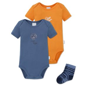 SCHIESSER 3-teiliges Baby Set Jungen 2 Kurzarmbodys 1 Paar Socken blau-orange Easy Tiger – Bild 1