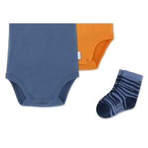 SCHIESSER 3-teiliges Baby Set Jungen 2 Kurzarmbodys 1 Paar Socken blau-orange Easy Tiger – Bild 3