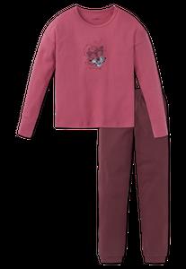 SCHIESSER Mädchen Schlafanzug lang Interlock Rosen Schmetterling malve Rebel – Bild 1