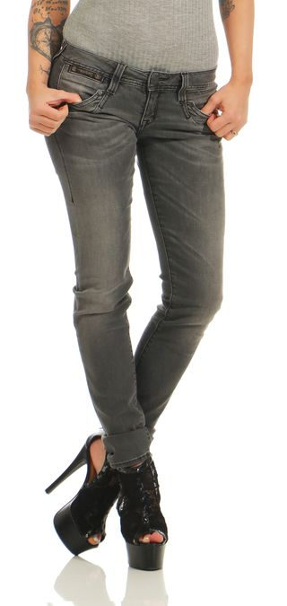 Herrlicher Piper Slim Denim Black Stretch  DB922 Dark Ash Damen Jeans Hose – Bild 1