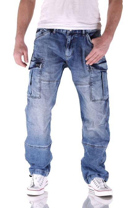 Big Seven Brian Medium Blue Cargo Herren Jeans – Bild 1