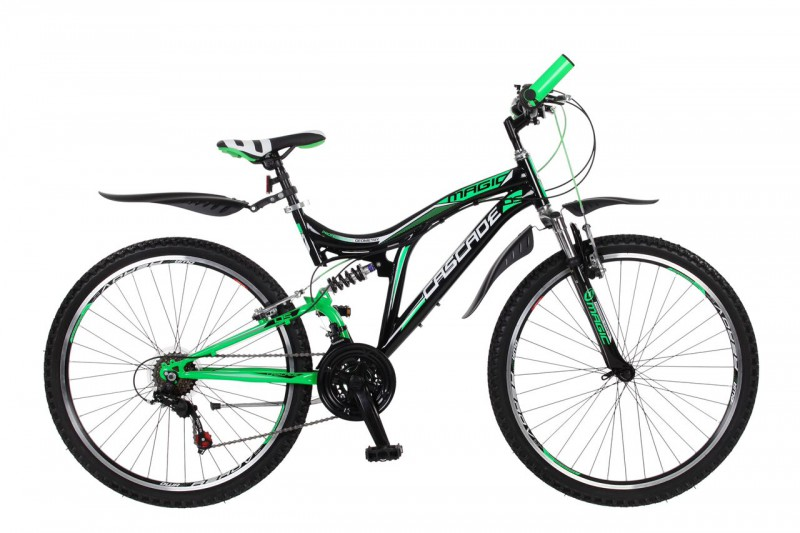 26 Zoll Kinder Jugend Jungen Mädchen Jugendfahrrad Fahrrad MTB Kinderfahrrad Mountainbike Fully Vollfederung 18 Gang Shimano x-treme Cascade Grün