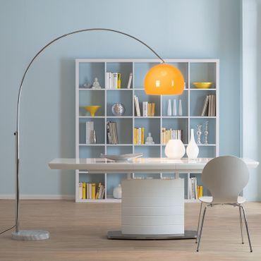 Bogenlampe Stehlampe, chrom – orange, 180cm – Bild 2