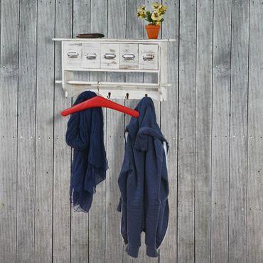 Garderobe Wandgarderobe Wandregal mit 5 Schubladen 32x65x13cm, Shabby Look, Vintage – weiss – Bild 2