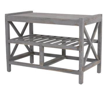 Schuhregal Sitzbank Shabby-Look, Vintage – grau – Bild 4