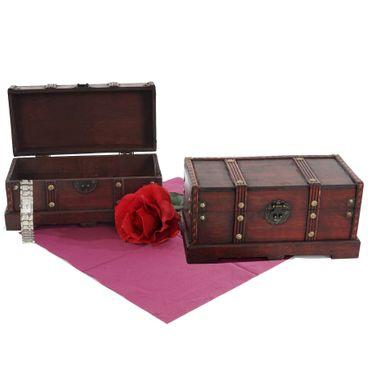 2er Set Holztruhe Geschenkbox Holzbox Schatztruhe - 10155 – Bild 1