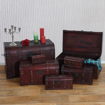 7er Set Holztruhe Holzbox Schatztruhe Antikoptik  – Bild 1