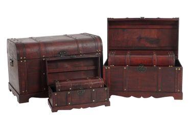 7er Set Holztruhe Holzbox Schatztruhe Antikoptik  – Bild 3