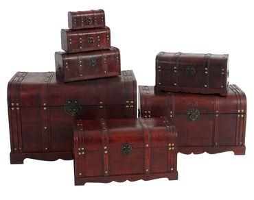 7er Set Holztruhe Holzbox Schatztruhe Antikoptik  – Bild 4