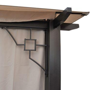 Pergola Gartenpavillon, 12cm Luxus-Alu-Gestell mit Seitenwand + Moskitonetz – Bild 6