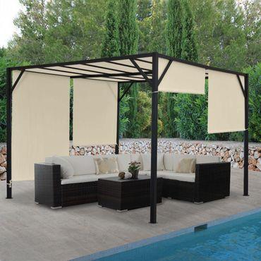 Pergola Gartenpavillon Terrassenüberdachung, stabiles 6cm-Stahl-Gestell + Schiebedach – Bild 2