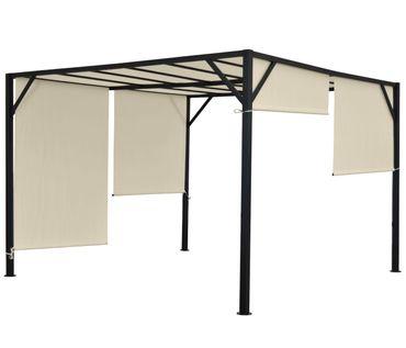 Pergola Gartenpavillon Terrassenüberdachung, stabiles 6cm-Stahl-Gestell + Schiebedach – Bild 7
