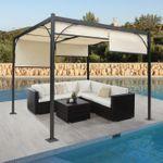 Pergola, Gartenpavillon Terrassenüberdachung, stabiles 6cm-Alu-Gestell + Schiebedach