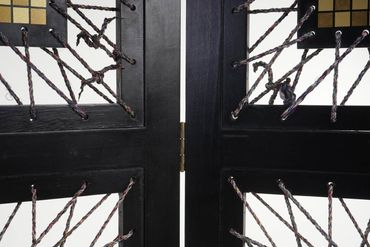 Paravent, Raumteiler Trennwand Sichtschutz, Ornamente, schwarz, 170x160cm – Bild 5