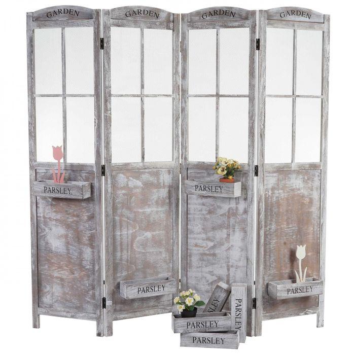 paravent raumteiler shabby look vintage haus paravents. Black Bedroom Furniture Sets. Home Design Ideas