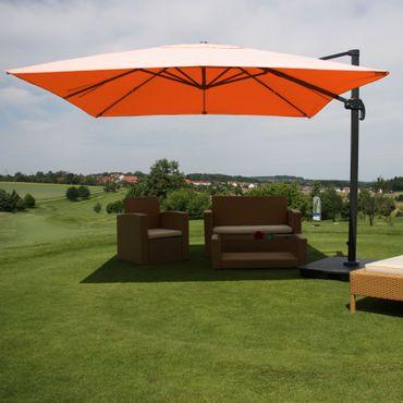 Alu Gastronomie-Luxus-Ampelschirm, 4,3 m terrakotta mit Ständer – Bild 2